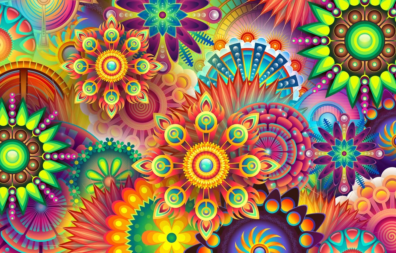 Photo wallpaper flowers, background, patterns, graphics, texture, geometry, digital art
