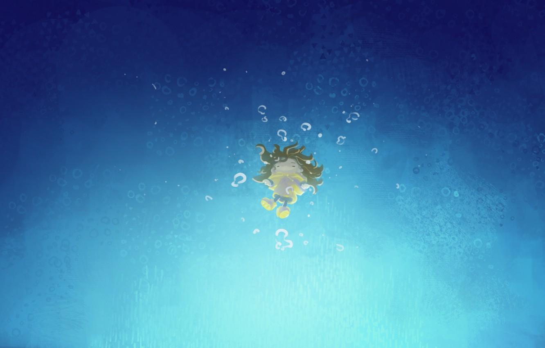 Photo wallpaper girl, under water, желтый шарф