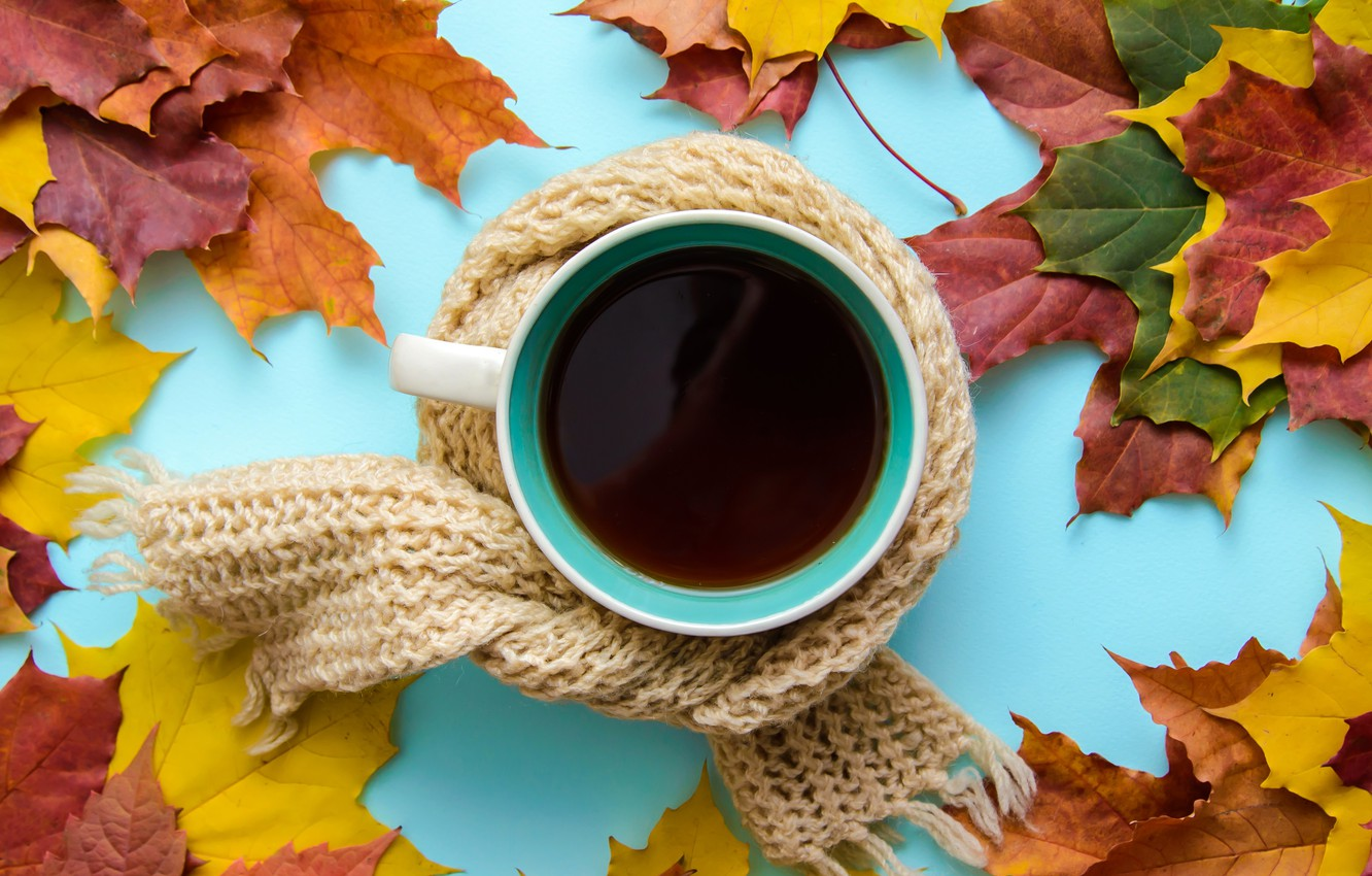 Photo wallpaper autumn, leaves, scarf, wood, autumn, leaves, coffee cup, a Cup of coffee