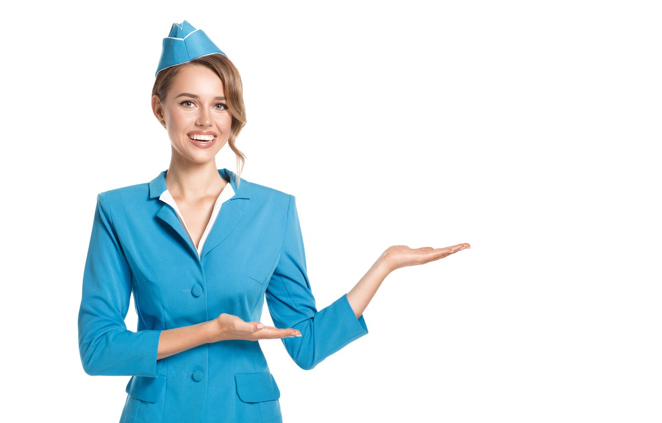 Photo wallpaper look, blue, pose, smile, hands, makeup, hairstyle, white background, brown hair, beauty, jacket, gesture, uniform, …