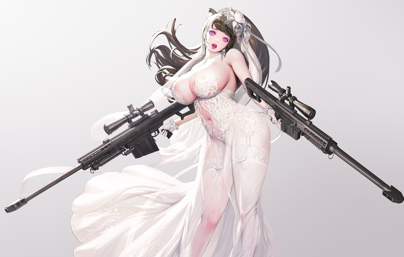 Photo wallpaper girl, sexy, weapons