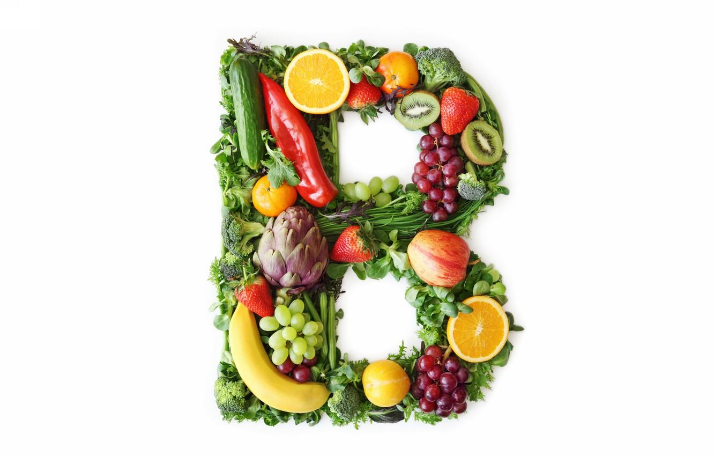 Photo wallpaper fruit, letter, vegetables, vitamins