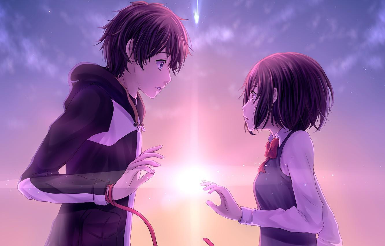 Photo wallpaper romance, The sky, anime, art, two, Kimi no VA On, Your name