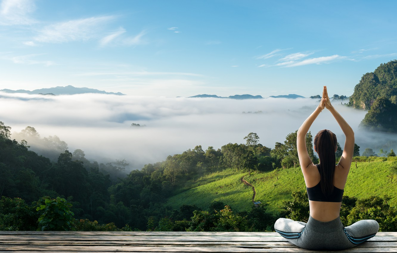 Wallpaper Jungle Woman Clouds Fog Paradise Yoga Images For Desktop Section Pejzazhi Download