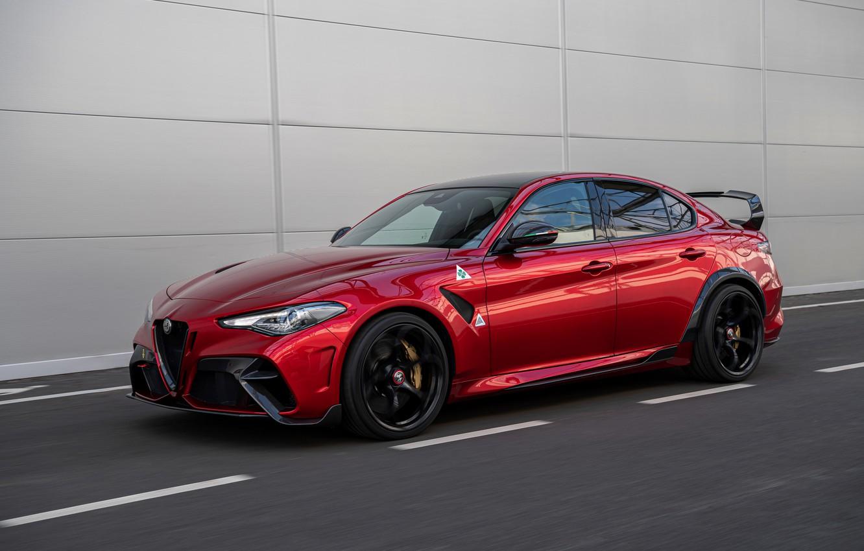 Photo wallpaper red, Alfa Romeo, Giulia, GTAm, 2020, Gran Turismo Alleggerita changed