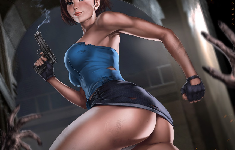 Photo wallpaper ass, gun, skirt, art, art, jill valentine, nemesis, resident evil 3