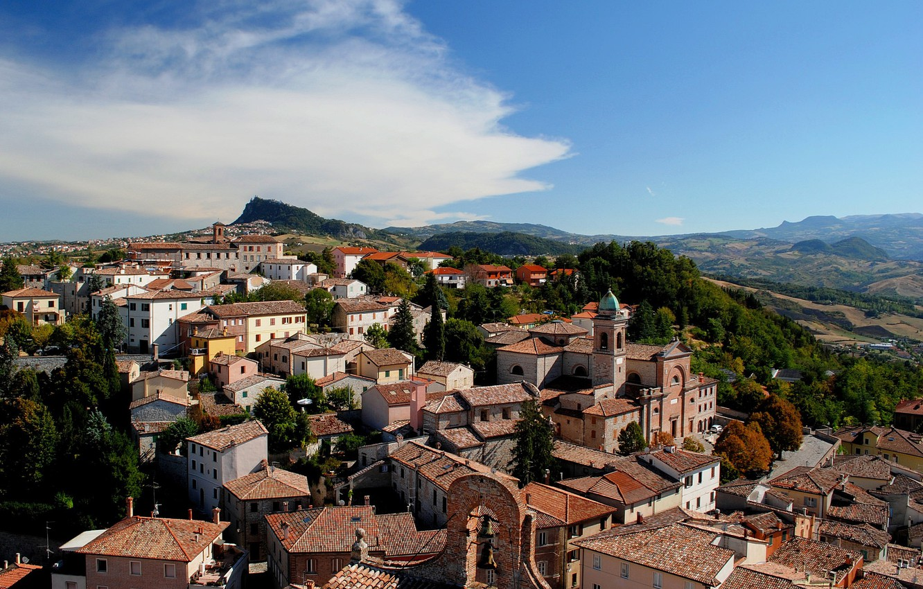 Photo wallpaper the sky, clouds, the city, home, Italy, Emilia-Romagna