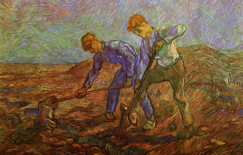 Photo wallpaper shovel, Vincent van Gogh, workers, Two Peasants Digging, dig
