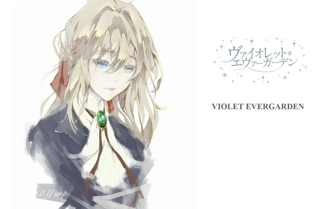 Photo wallpaper face, blue eyes, bow, art, pigtail, sad, bangs, brooch, portrait of a girl, Violet Evergarden, ...