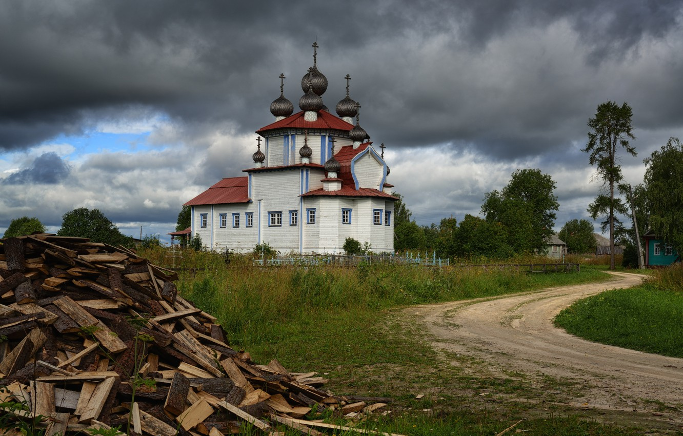 Photo wallpaper road, clouds, Church, wood, temple, Russia