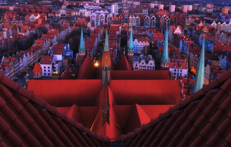 Photo wallpaper Gdansk, Evening Light, St Marys