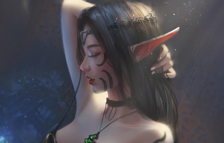 Photo wallpaper pendant, neckline, elf, Diadema, long hair, closed eyes, in profile, hand in hair, pointy, chalker, …