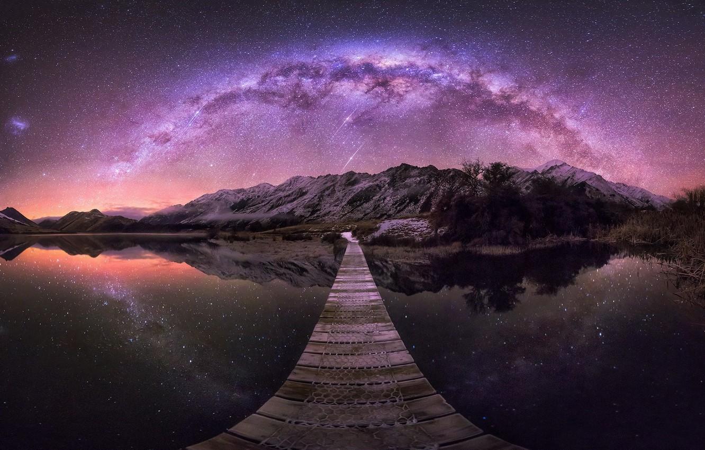 Photo wallpaper the sky, stars, mountains, bridge, lake, reflection, New Zealand, New Zealand, Queenstown, Mock Lake