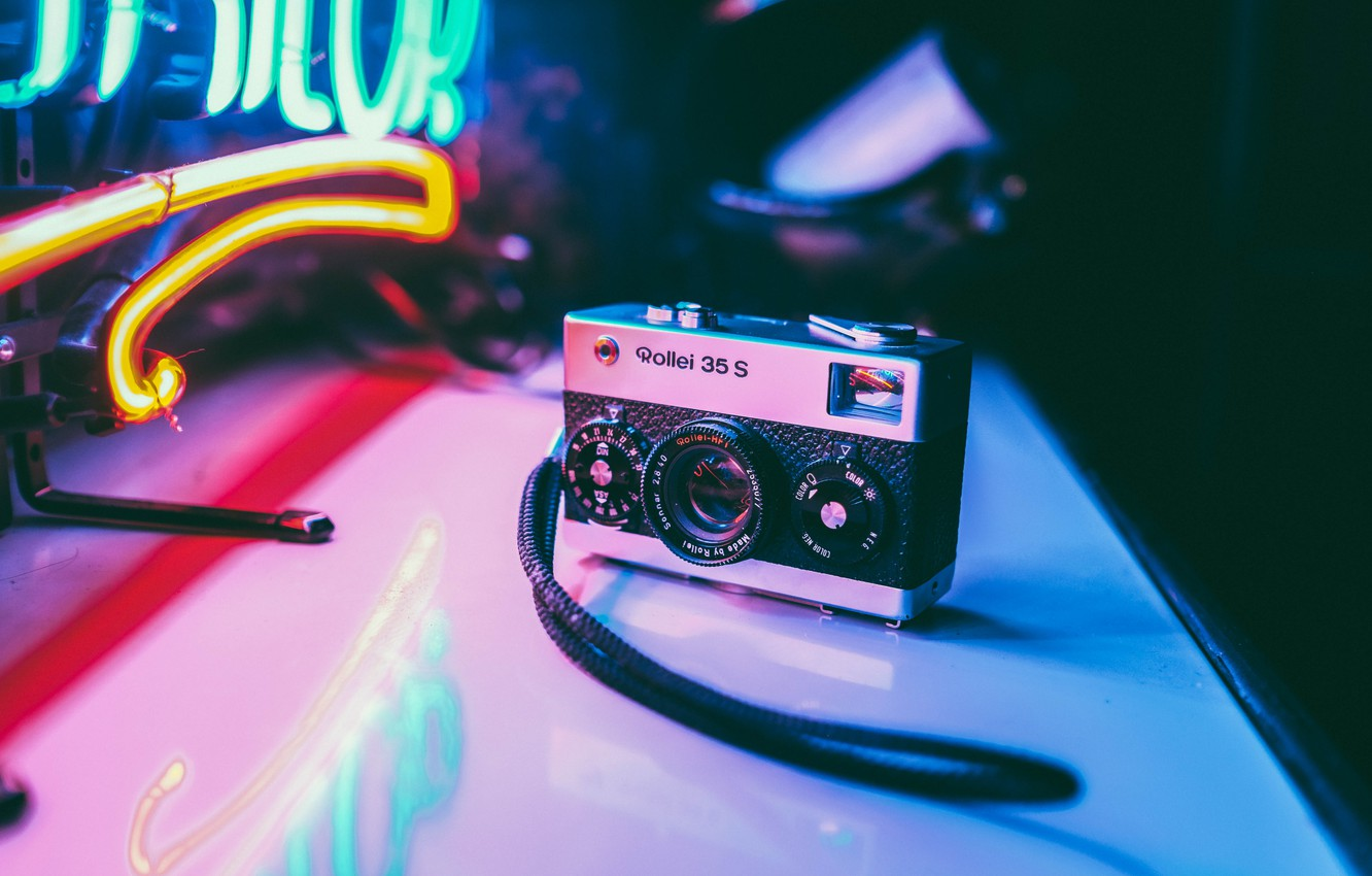 Photo wallpaper photo, table, neon, Germany, the camera, the camera, small, Rollei 35