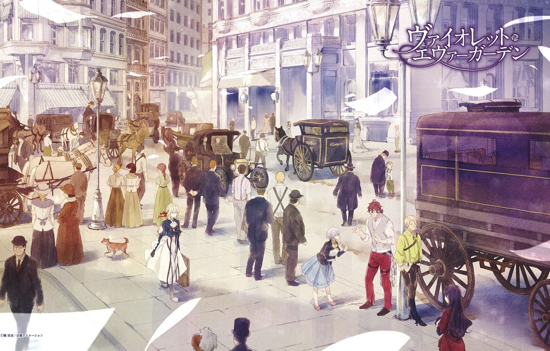 Photo wallpaper people, horse, area, lights, suitcase, dog, the crew, coach, citizens, Violet Evergarden, multi-storey building, paper, …