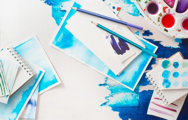 Photo wallpaper color, paint, pencils, watercolor, Notepad, palette, creativity, art work, strokes