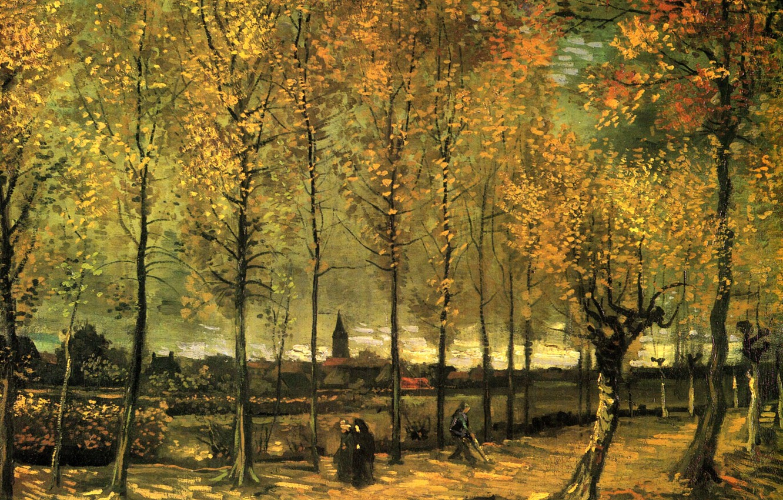 Photo wallpaper autumn, trees, nun, Vincent van Gogh, cleaner, Lane with Poplars
