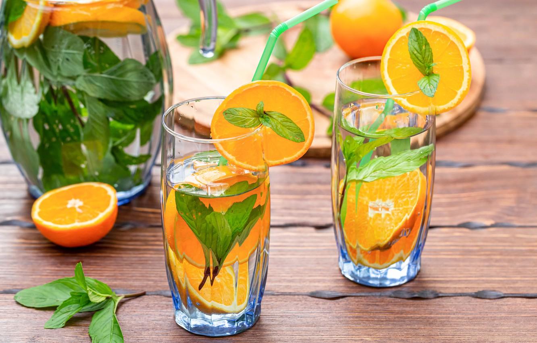 Photo wallpaper oranges, glasses, mint, lemonade