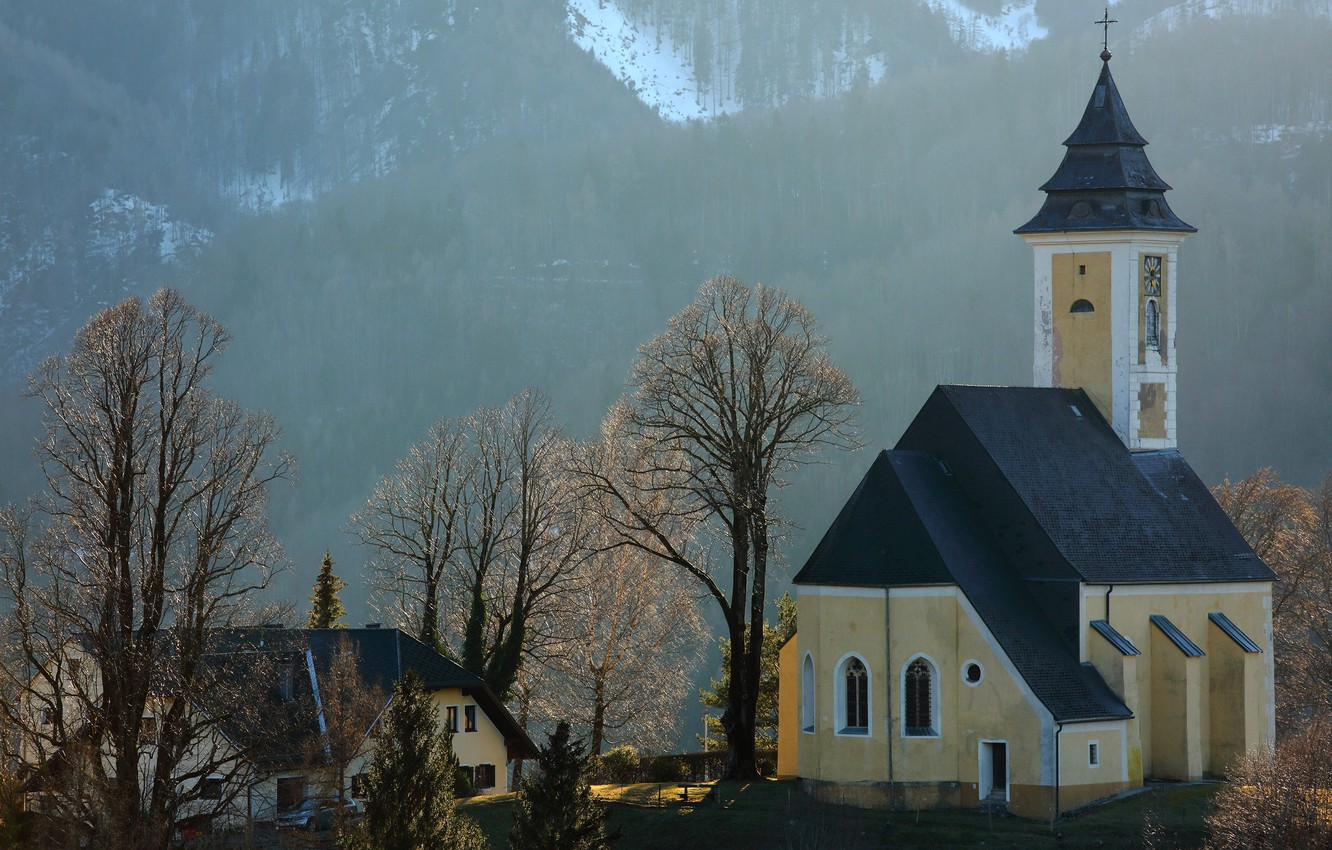 Photo wallpaper mountains, Austria, chapel