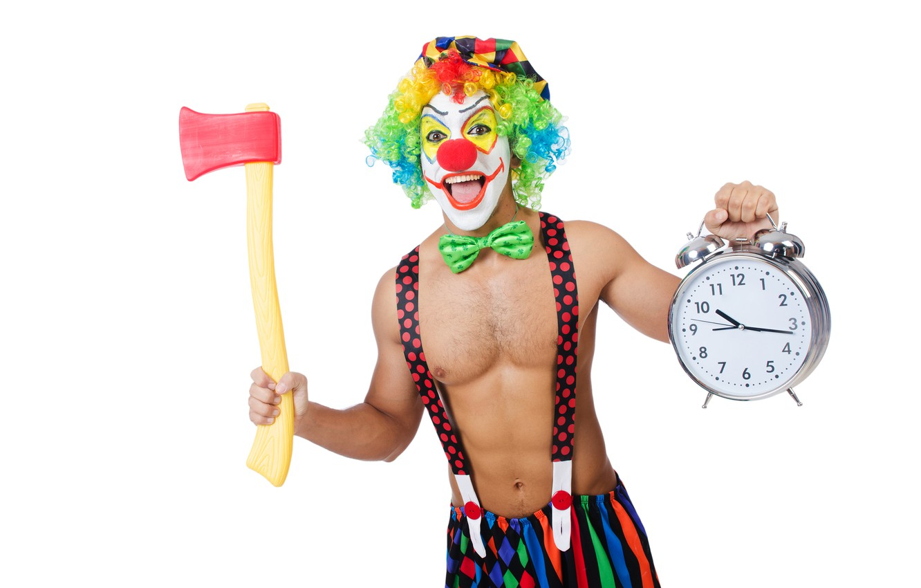 Photo wallpaper butterfly, paint, watch, figure, clown, alarm clock, hairstyle, outfit, white background, male, cap, axe, torso, …