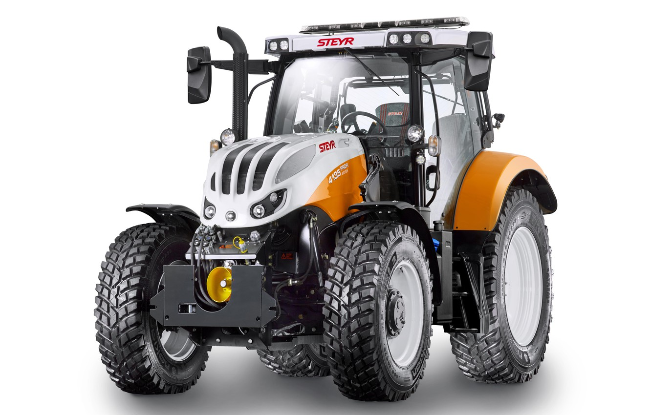 Photo wallpaper tractor, white background, Steyr, Municipal, 4135, Professional
