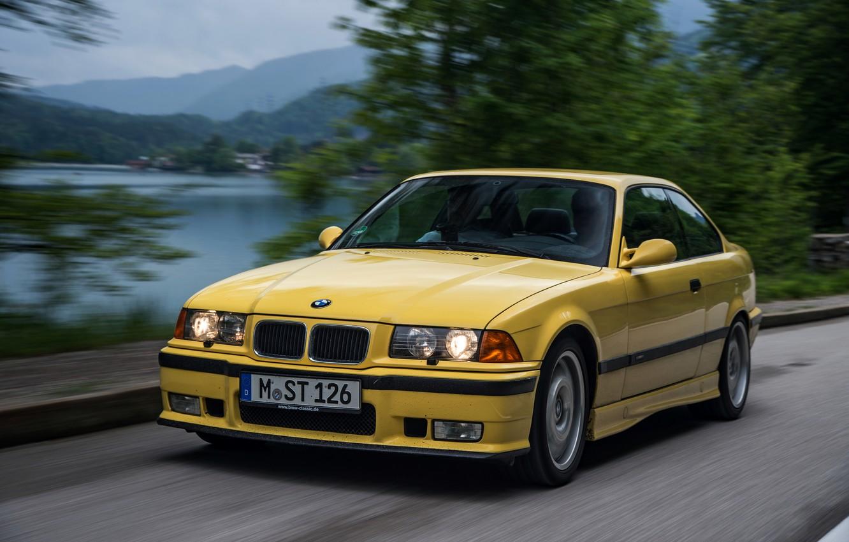 Photo wallpaper yellow, coupe, BMW, BMW M3, E36, M3, (1992–1999)