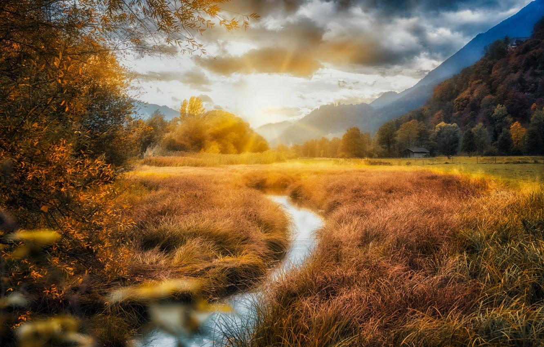 Photo wallpaper field, nature, river