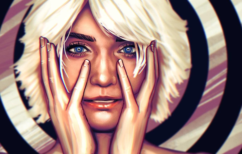 Photo wallpaper Girl, Face, Eyes, Hands, Art, Illustration, White hair, Comic Art, by Ben Vazquez, Ben Vazquez