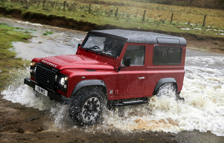 Photo wallpaper water, squirt, red, movement, SUV, Land Rover, 2018, Defender, V8, Defender Works V8, jubilee spezzare