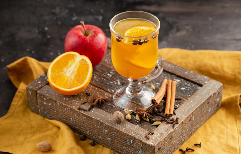 Photo wallpaper Apple, orange, juice, citrus