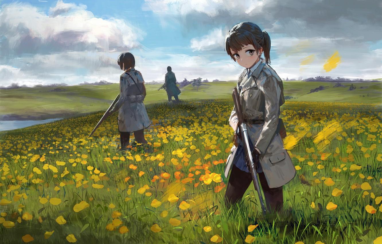 Photo wallpaper flowers, weapons, girls, meadow, soldiers