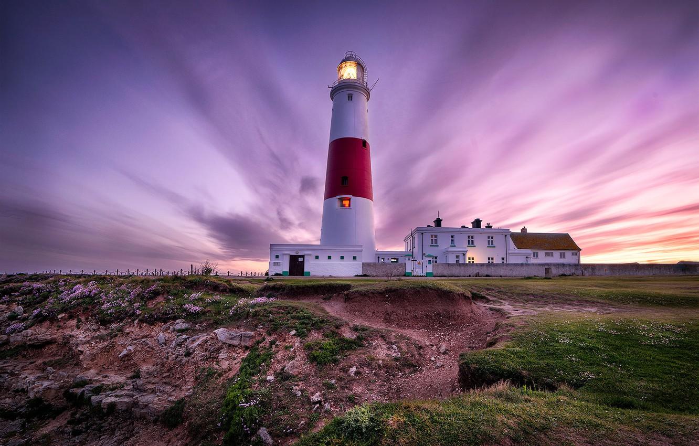 Photo wallpaper landscape, sunset, nature, coast, lighthouse, England, Portland