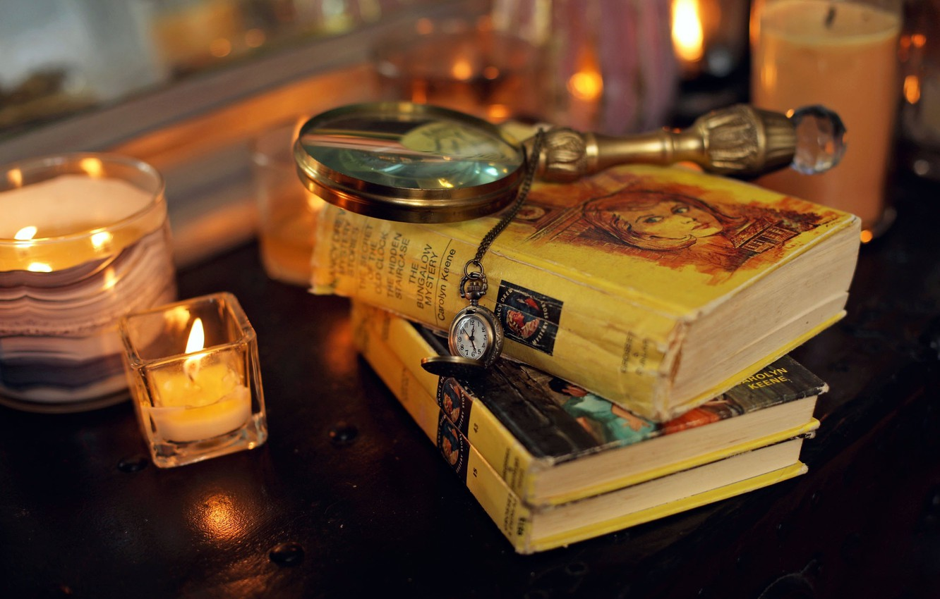 Photo wallpaper candles, table, clock, miscellanea, magnifying glass, Books, pocket watch