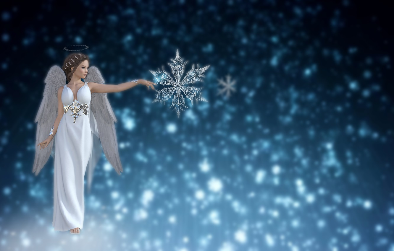 Photo wallpaper the sky, background, snow, winter, star, Christmas, angel, fantasy, love, crystal snowflake