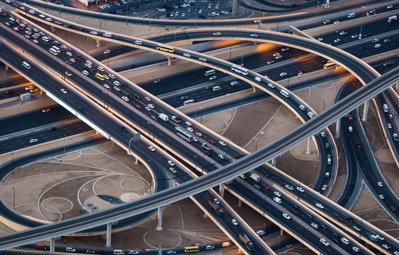 Photo wallpaper Dubai, Highway, Highway, Crossing, Trade 345, Dubai