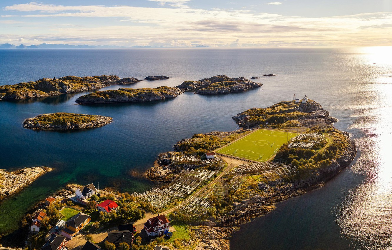 Photo wallpaper sea, the sun, coast, village, horizon, panorama, houses, the view from the top, Norway, football …