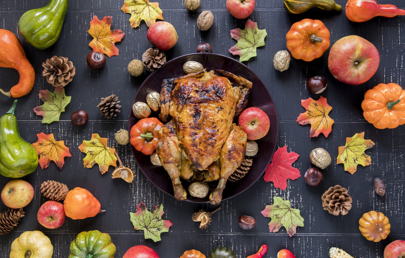 Photo wallpaper autumn, leaves, background, apples, chicken, colorful, pumpkin, fruit, nuts, maple, vegetables, bumps, wood, autumn, leaves, …