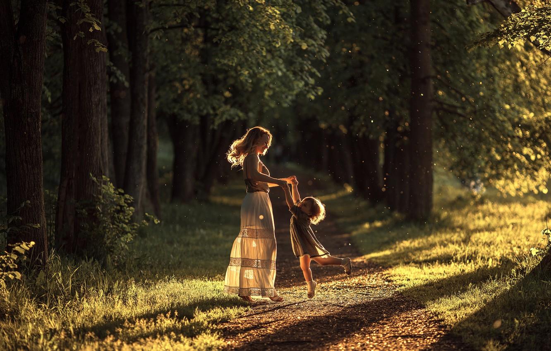 Photo wallpaper forest, mood, woman, child, dance, girl, schate, motherhood