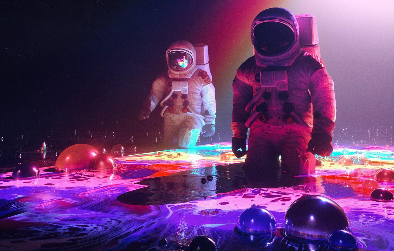 Photo wallpaper Flowers, Flower, Paint, The suit, People, Style, The astronauts, Astronaut, Astronaut, Fantasy, Art, Graphics, Art, …