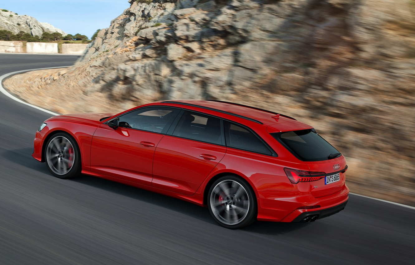 Photo wallpaper red, movement, Audi, side, universal, 2019, A6 Avant, S6 Before