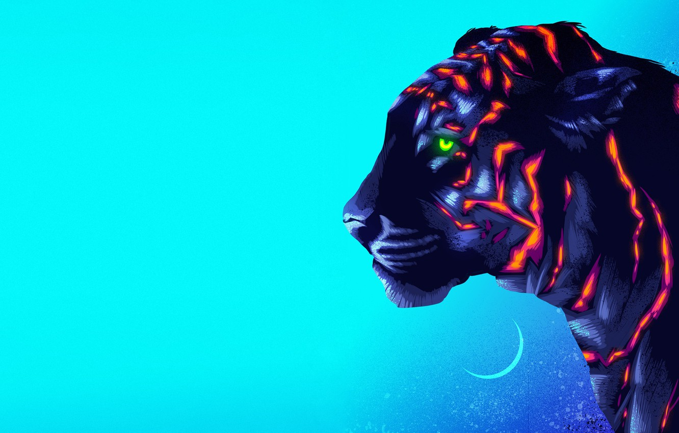 Photo wallpaper Figure, Cat, Tiger, Background, Art, Neon, James White, Synth, Retrowave, Synthwave, New Retro Wave, Futuresynth, …