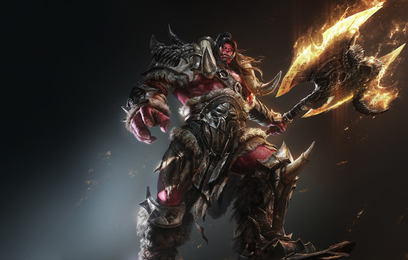 Wallpaper Warcraft Fire Orc Fan Art Armor Axe Game Art By G