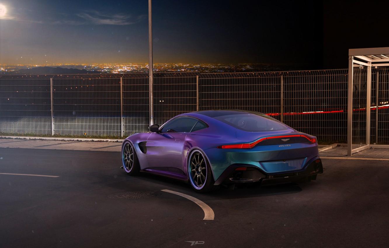 Photo wallpaper Aston Martin, Auto, Vantage, Night, Blue, Machine, Rendering, Aston Martin Vantage, 2019, by Mikhail Nikolaev, …