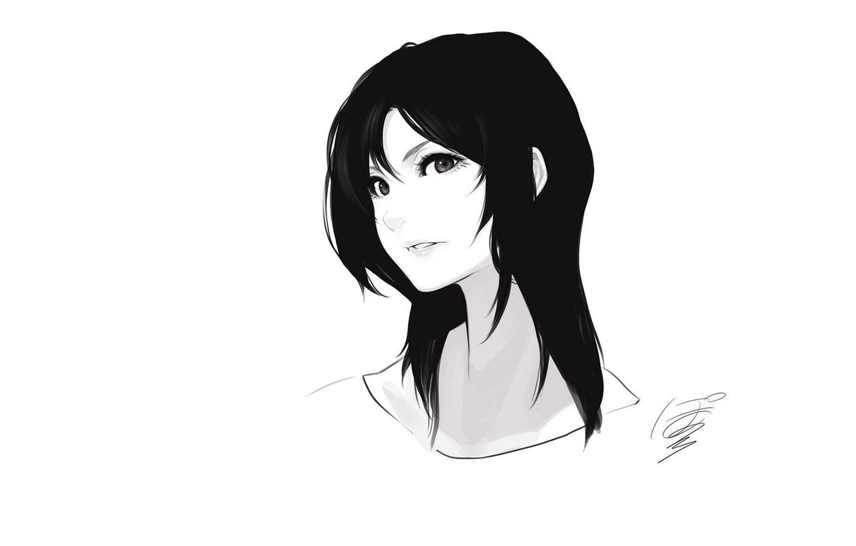 Photo wallpaper face, art, black hair, portrait of a girl, black and white, Poaro