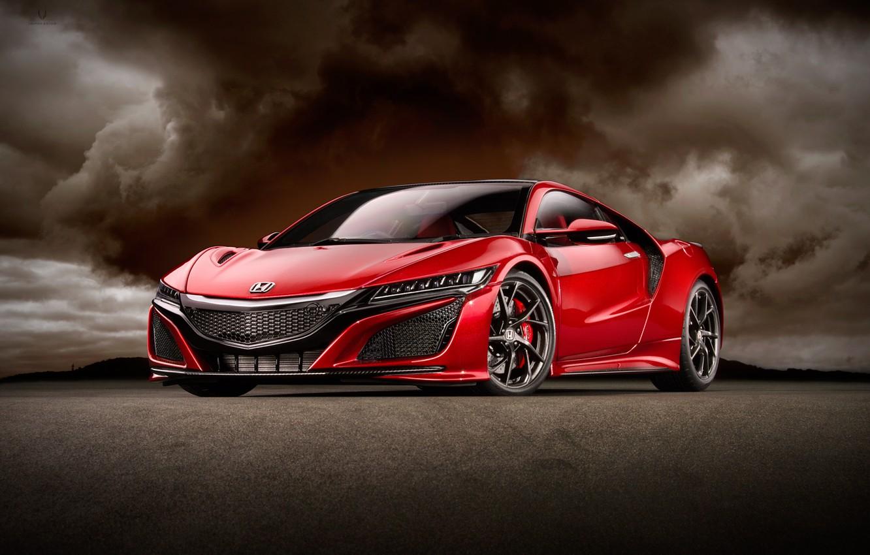 Photo wallpaper red, background, art, sports car, Honda NSX