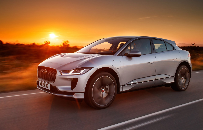 Photo wallpaper sunset, Jaguar, 2018, crossover, I-Pace, EV400, AWD S