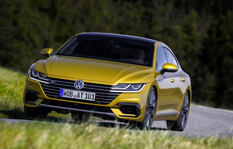 Photo wallpaper grass, trees, yellow, Volkswagen, 2018, R-Line, liftback, 2017, Arteon