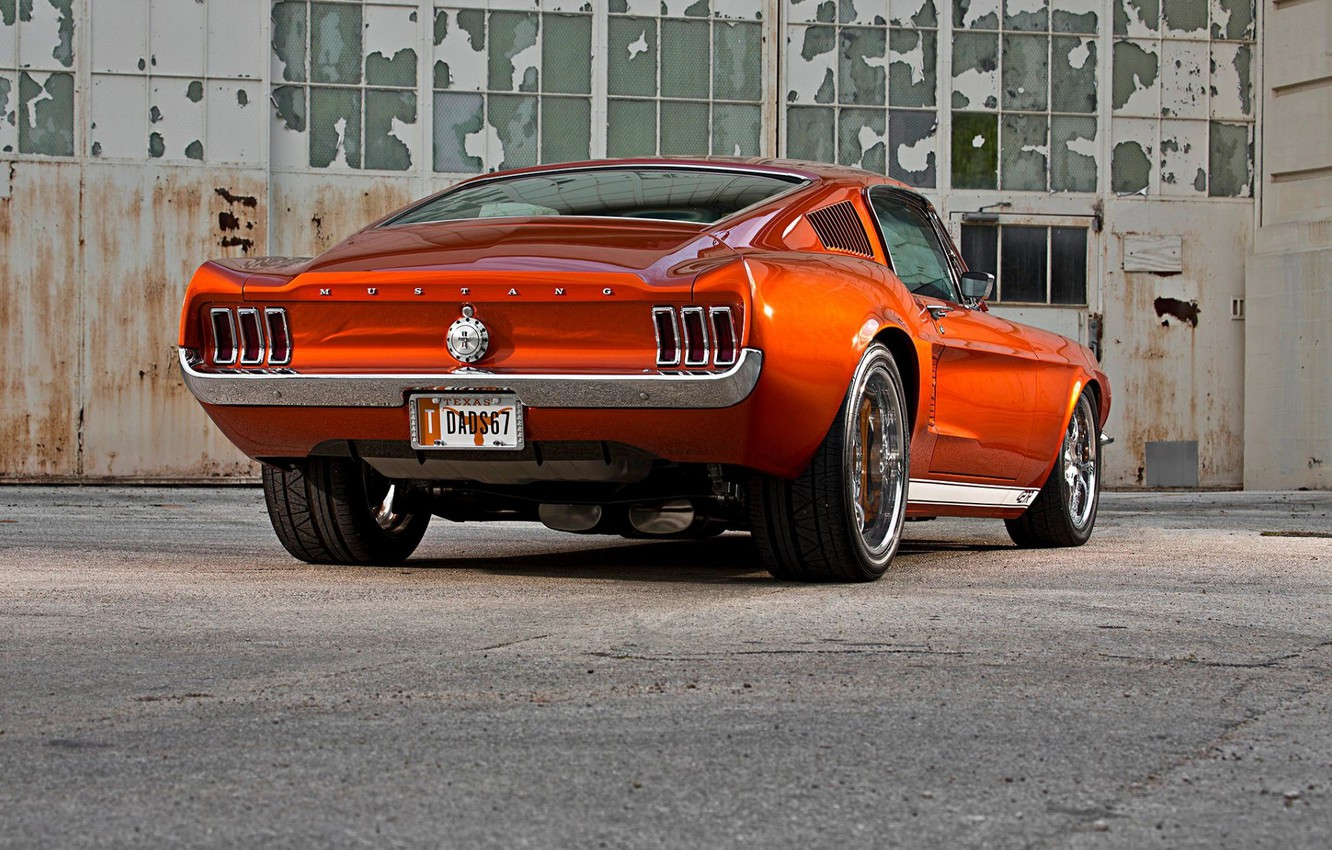 Photo wallpaper Mustang, Ford, Muscle, Ford Mustang, Coupe, Fastback, Old, Widebody