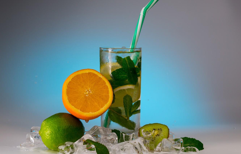 Photo wallpaper glass, orange, ice, kiwi, lime, drink, mint, fresh, lemonade, citrus