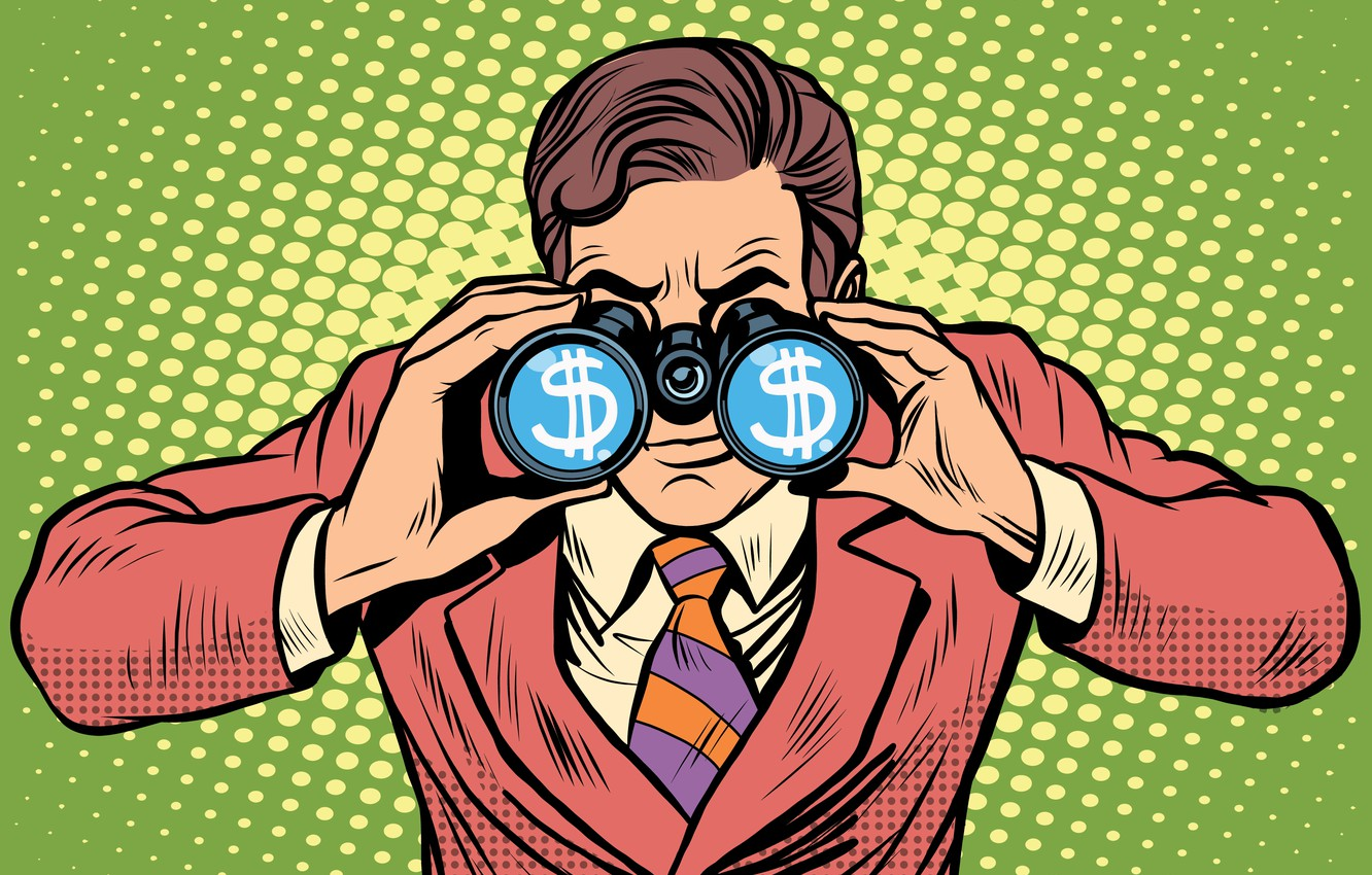 Photo wallpaper money, suit, business, binoculars